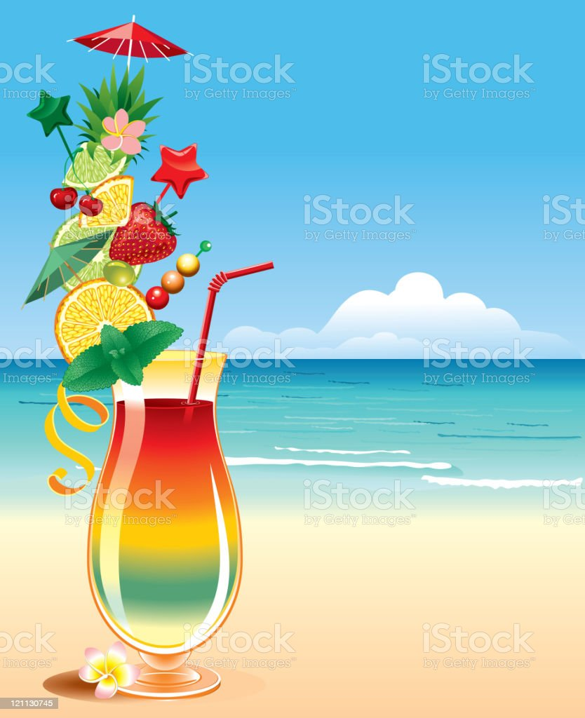 Tropical cocktail vector art illustration