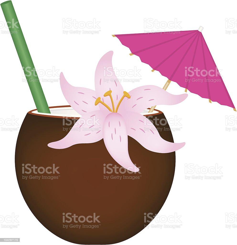 Tropical Drink in Coconut Shell vector art illustration