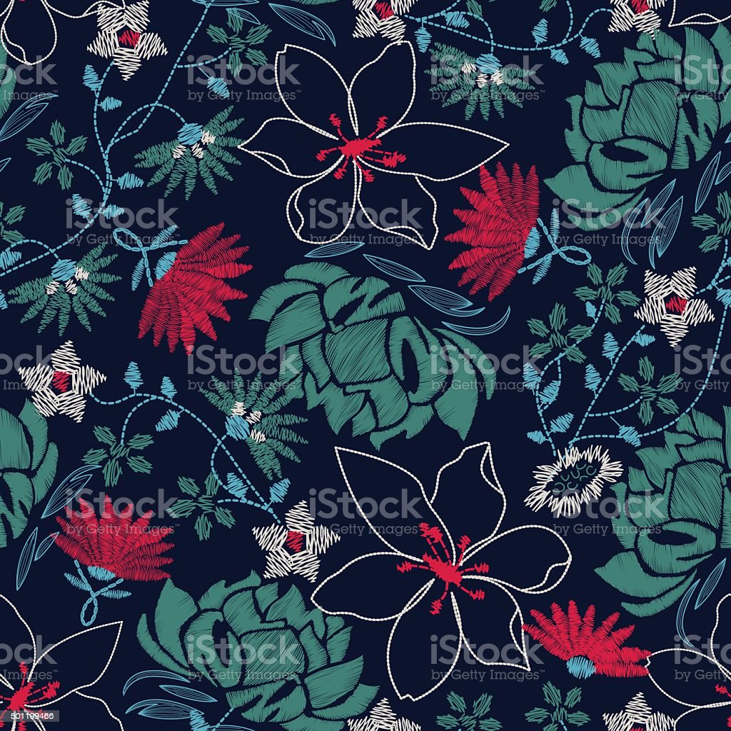 Tropical embroidery lush floral design in a seamless pattern vector art illustration