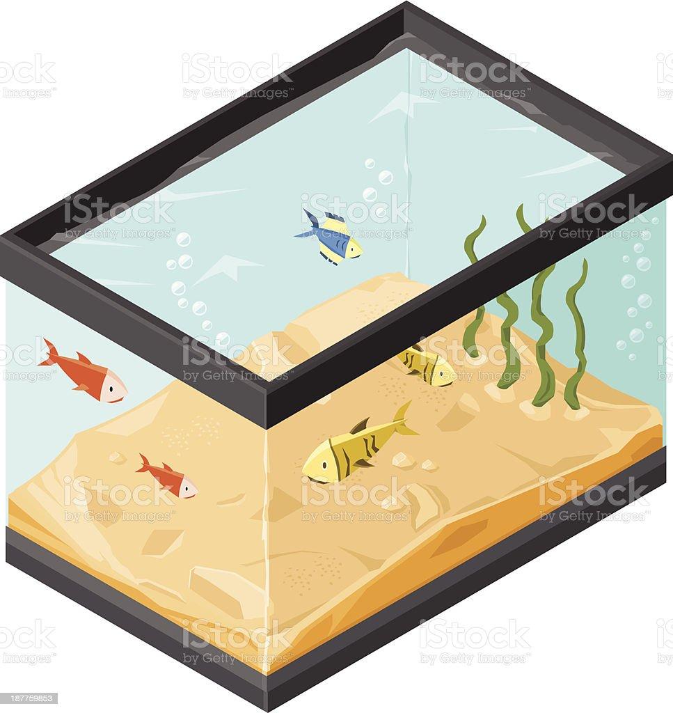 Tropical Fish Tank Aquarium vector art illustration