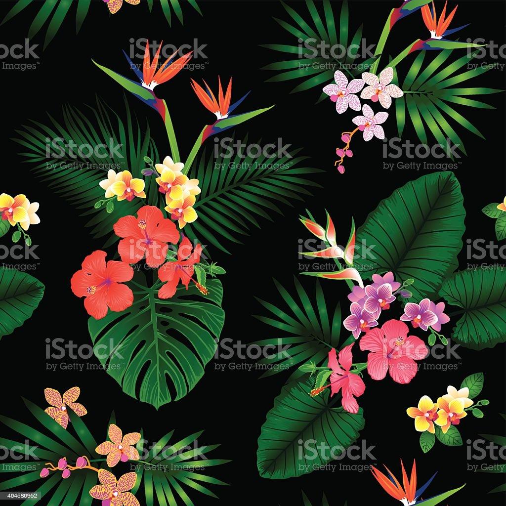 Tropical floral pattern vector art illustration