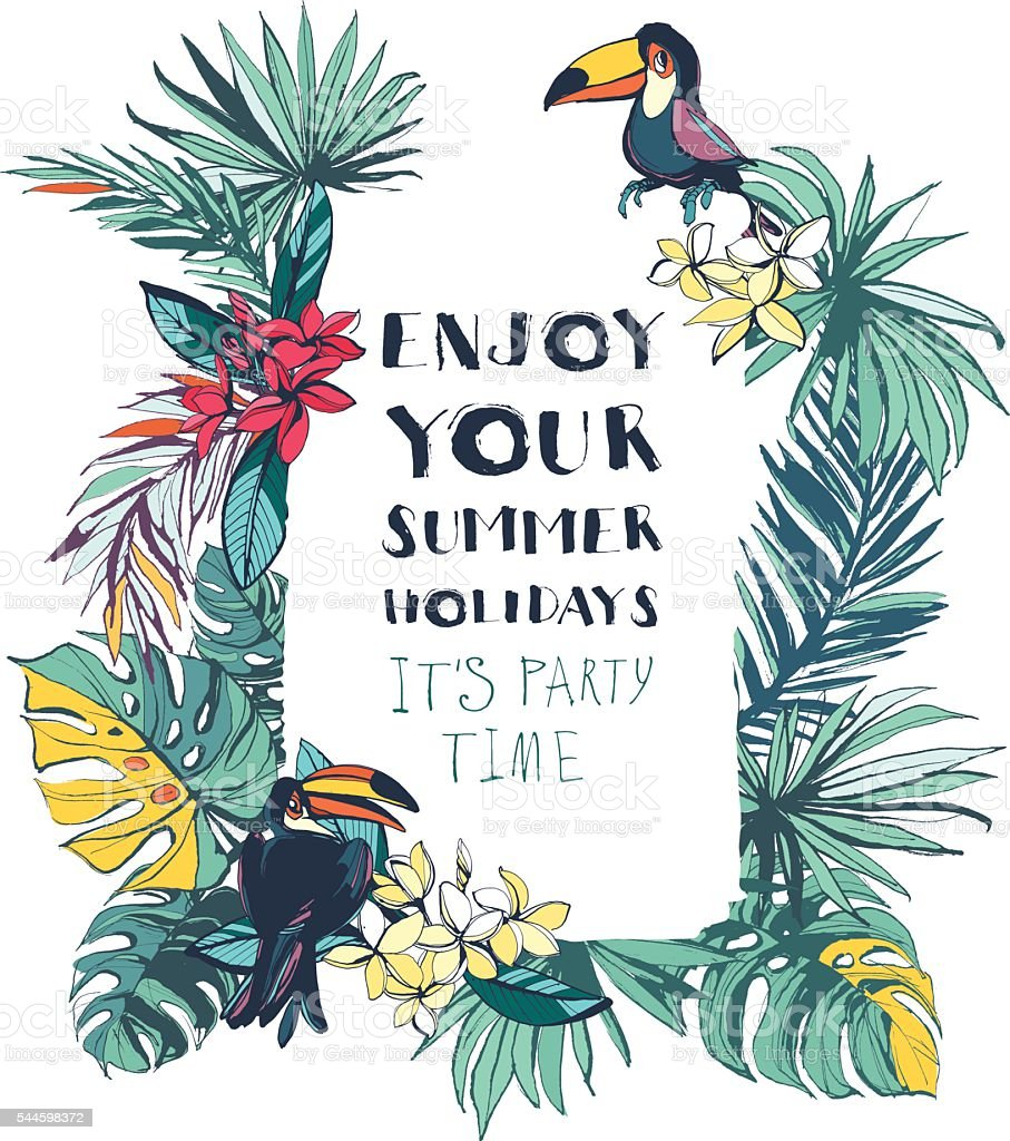 Tropical floral summer beach party invitation with palm leaves, vector art illustration