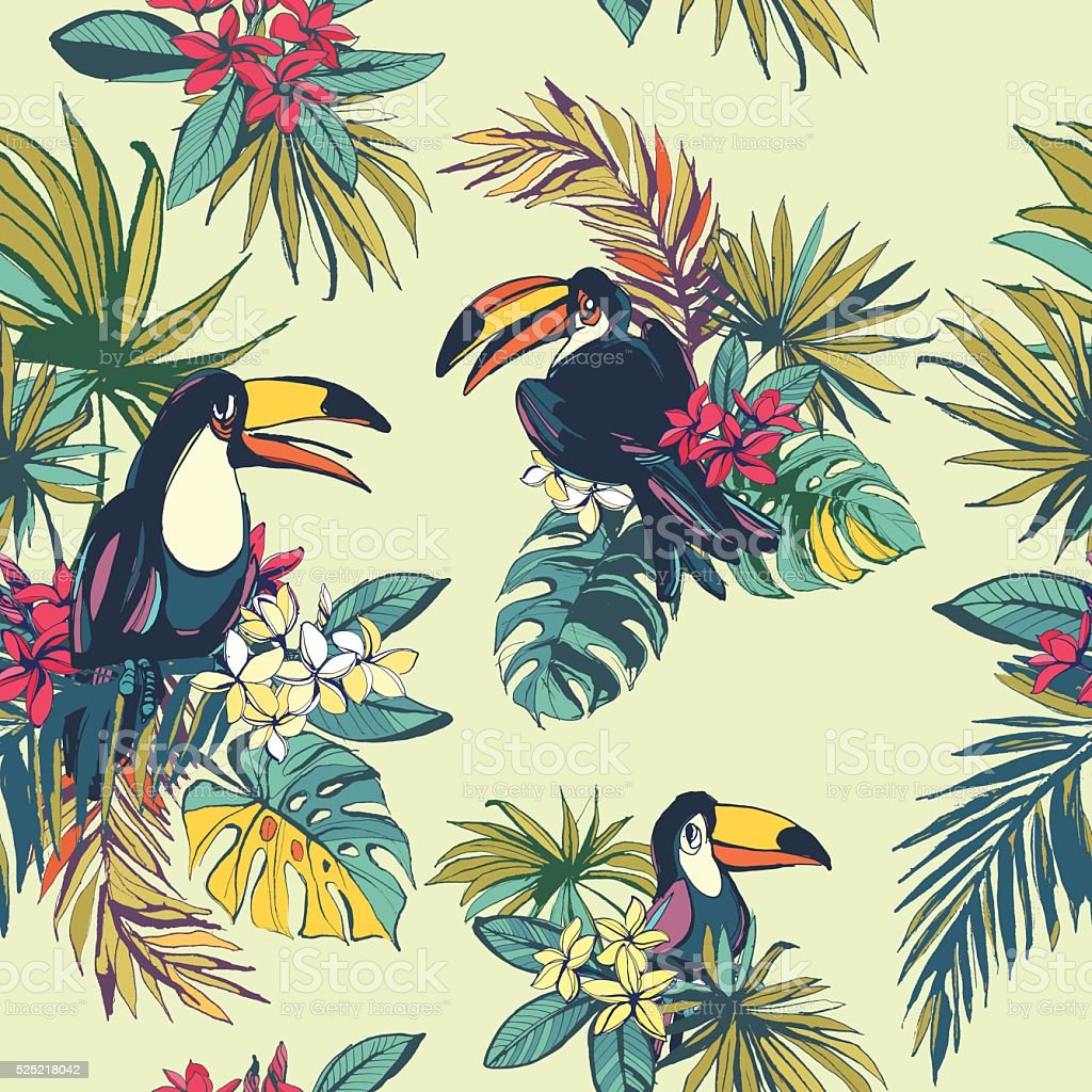 Tropical floral summer seamless pattern with palm beach leaves, vector art illustration