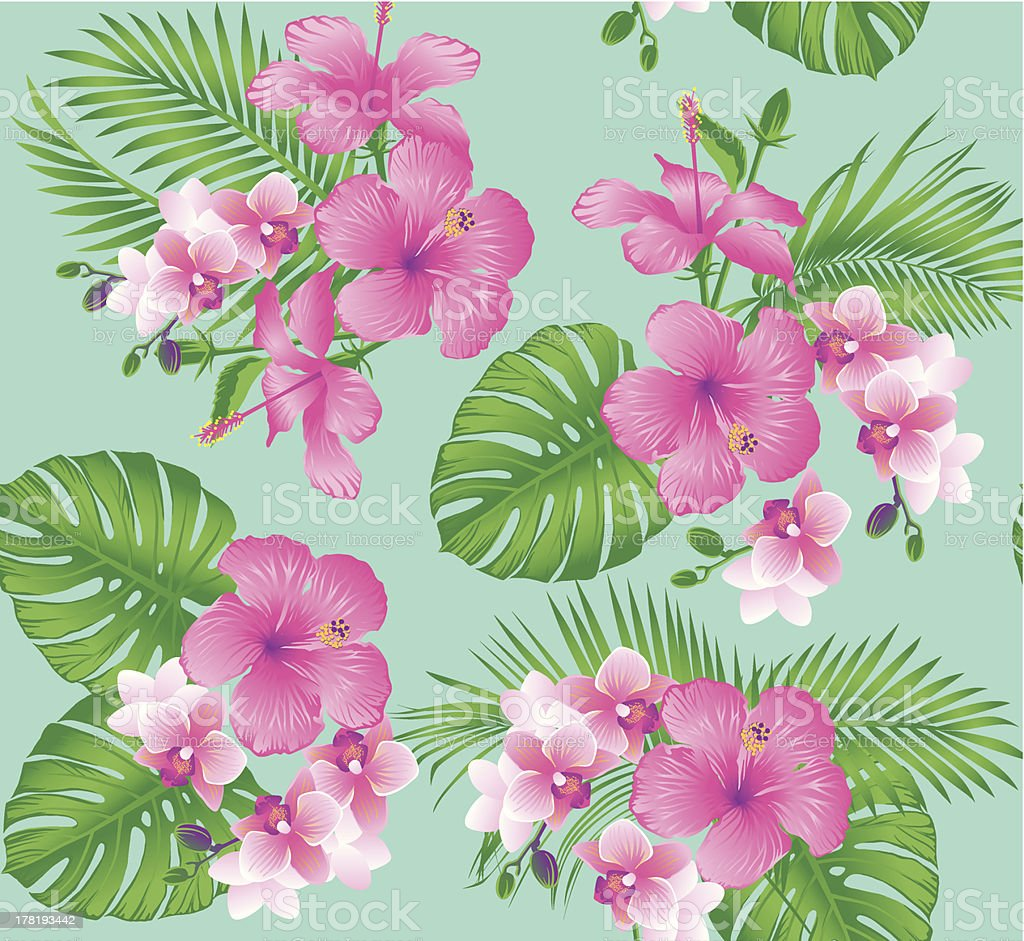 Tropical flower pattern royalty-free stock vector art