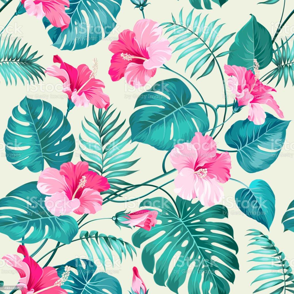 Tropical Flower Pattern stock vector art 493443382 | iStock