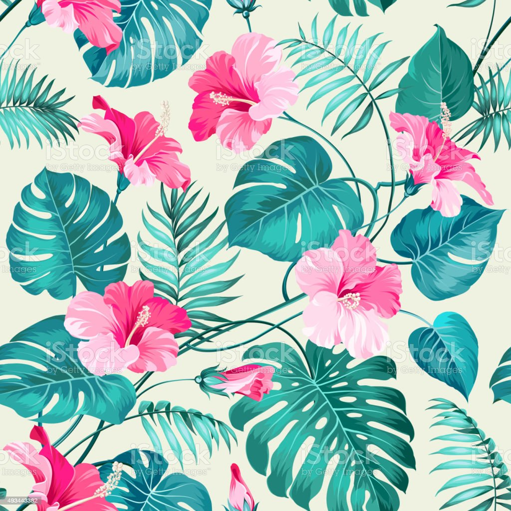 Tropical flower pattern vector art illustration