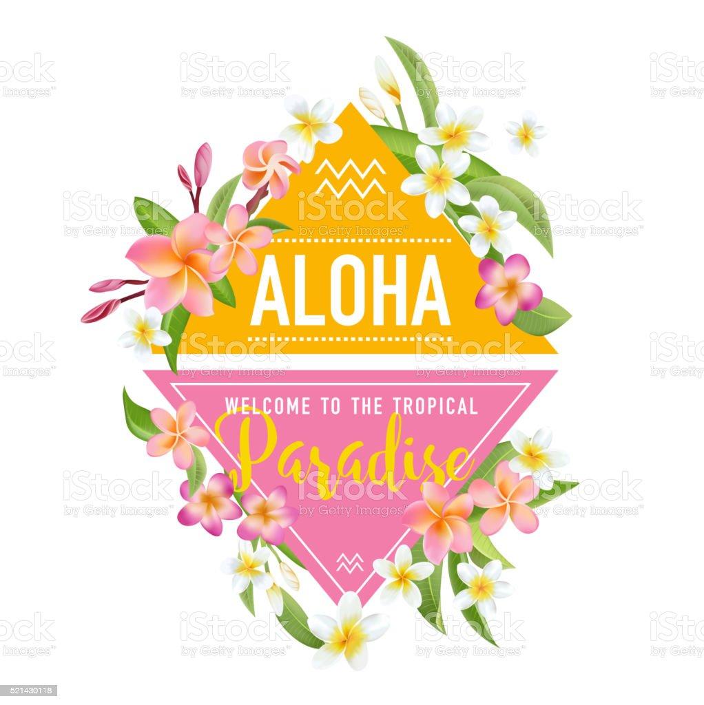 Tropical Flowers and Leaves Background. Summer Design. T-shirt design vector art illustration