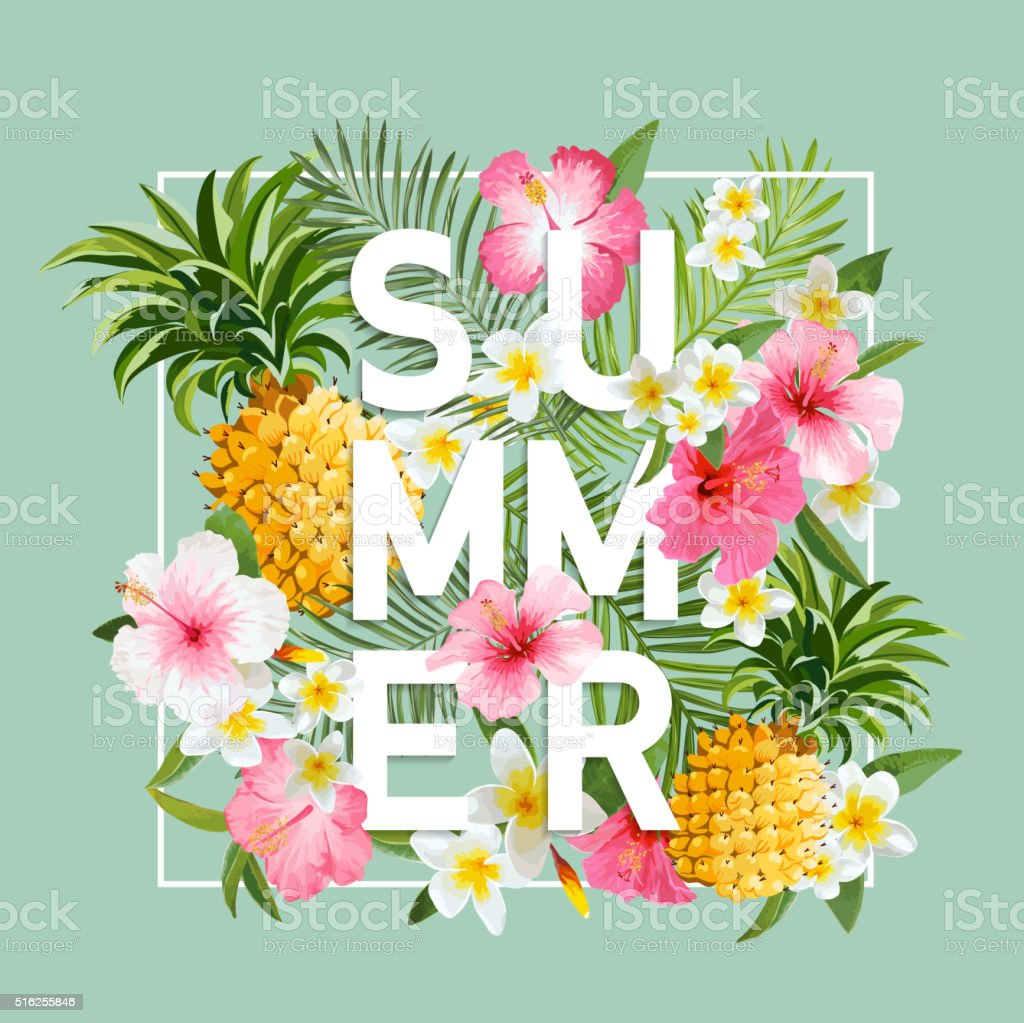 Tropical Flowers and Leaves Background. Summer Design. Vector. T-shirt Fashion vector art illustration