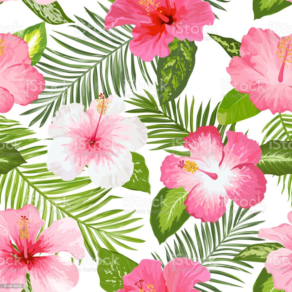 Tropical Flowers and Leaves Background - Vintage Seamless Pattern vector art illustration
