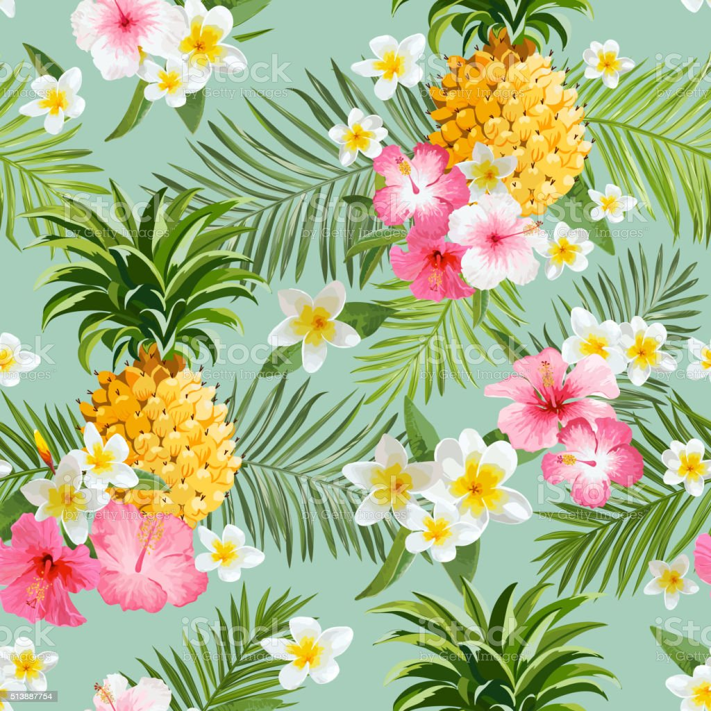 Tropical Flowers and Pineapples Background - Vintage Seamless Pattern vector art illustration