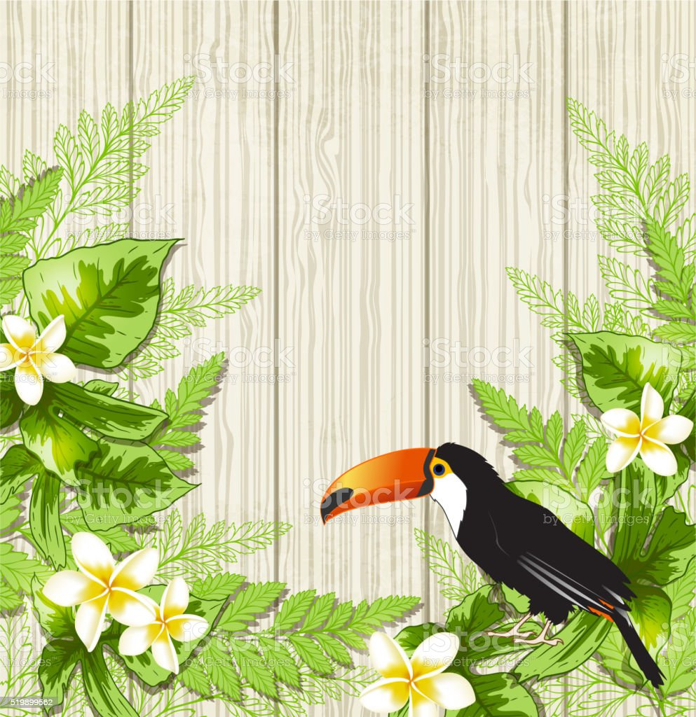 Summer background with tropical flowers and toucan. Vector...