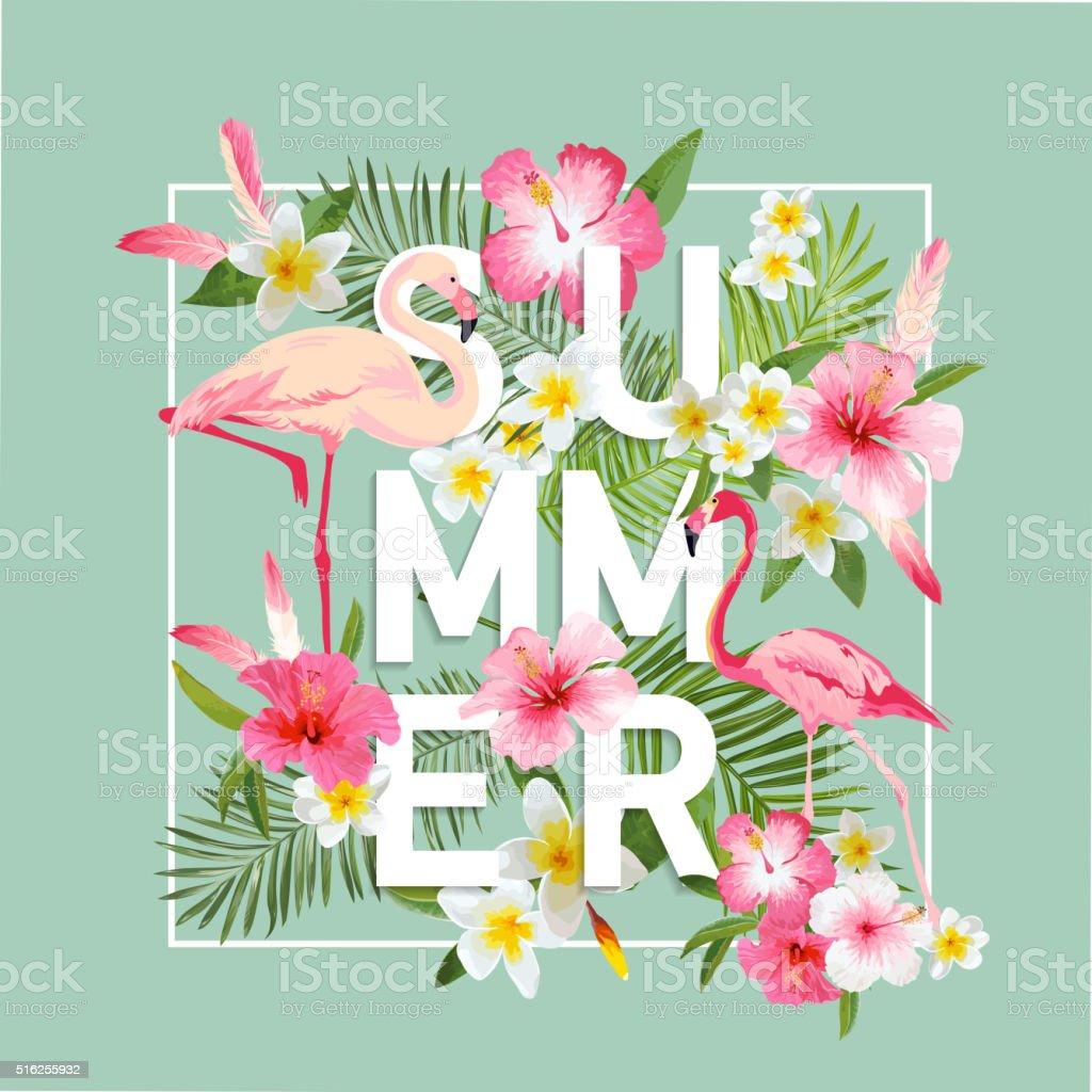 Tropical Flowers Background. Summer Design. Vector. Flamingo Background vector art illustration