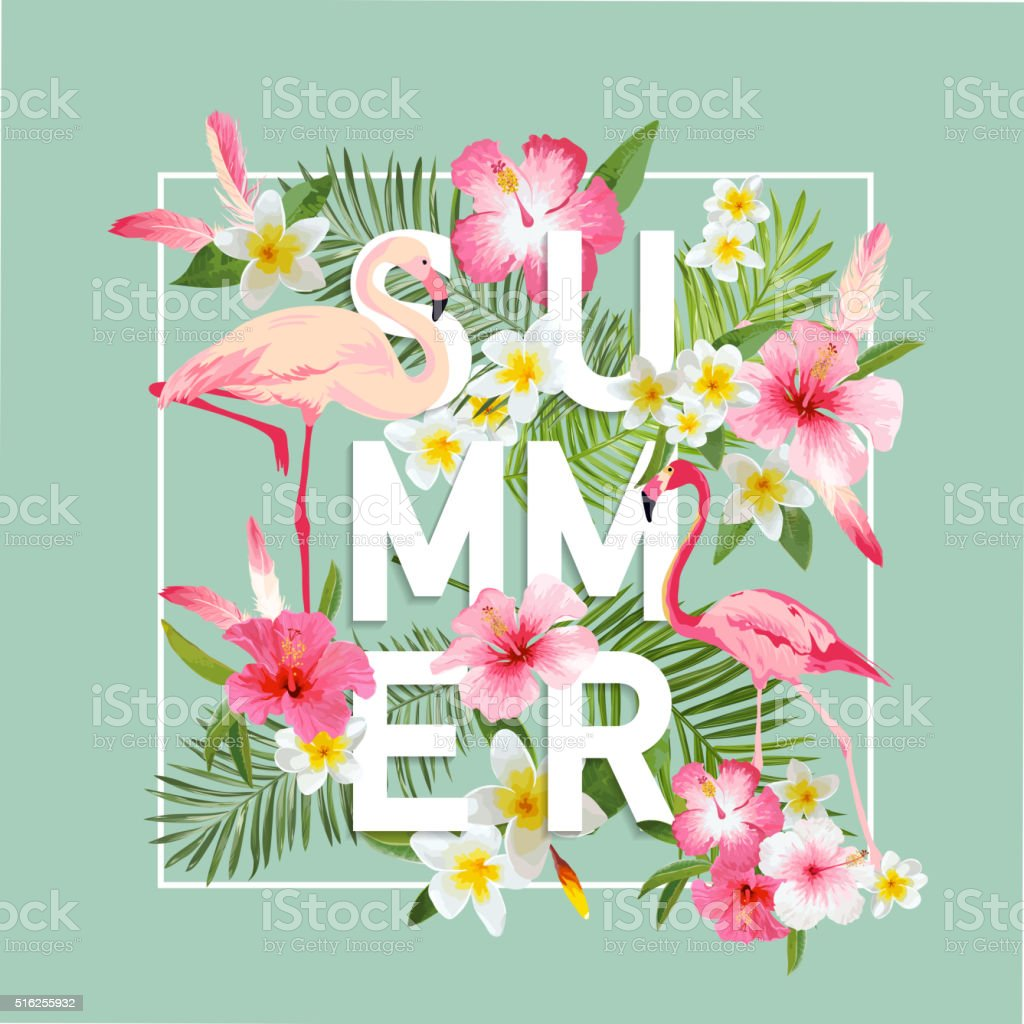 Tropical Flowers Background. Summer Design. Vector. Flamingo Background vector art illustration