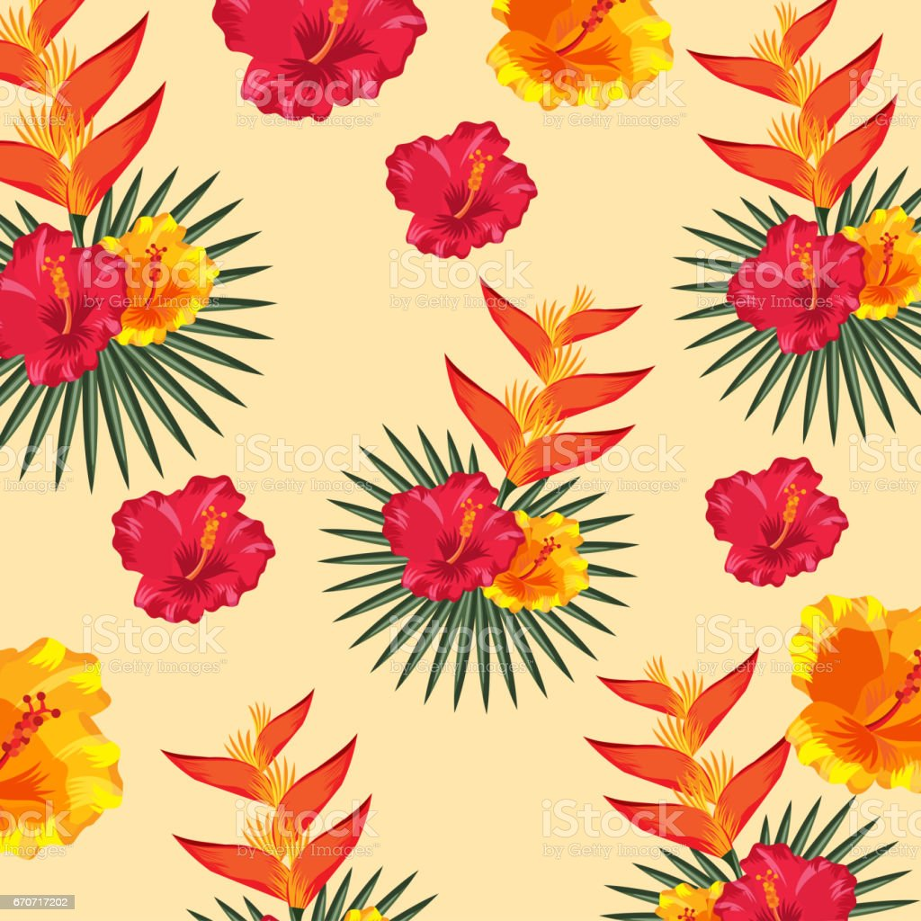 tropical flowers background vector art illustration
