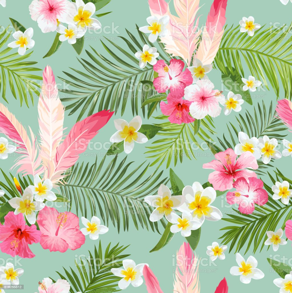 Tropical Flowers Background. Vintage Seamless Pattern. Vector Pattern vector art illustration