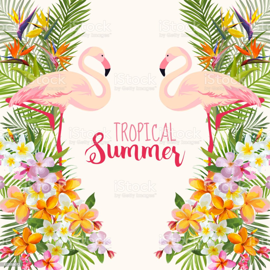 Tropical Flowers. Flamingo Bird. Tropical Background. Tropical Vector vector art illustration