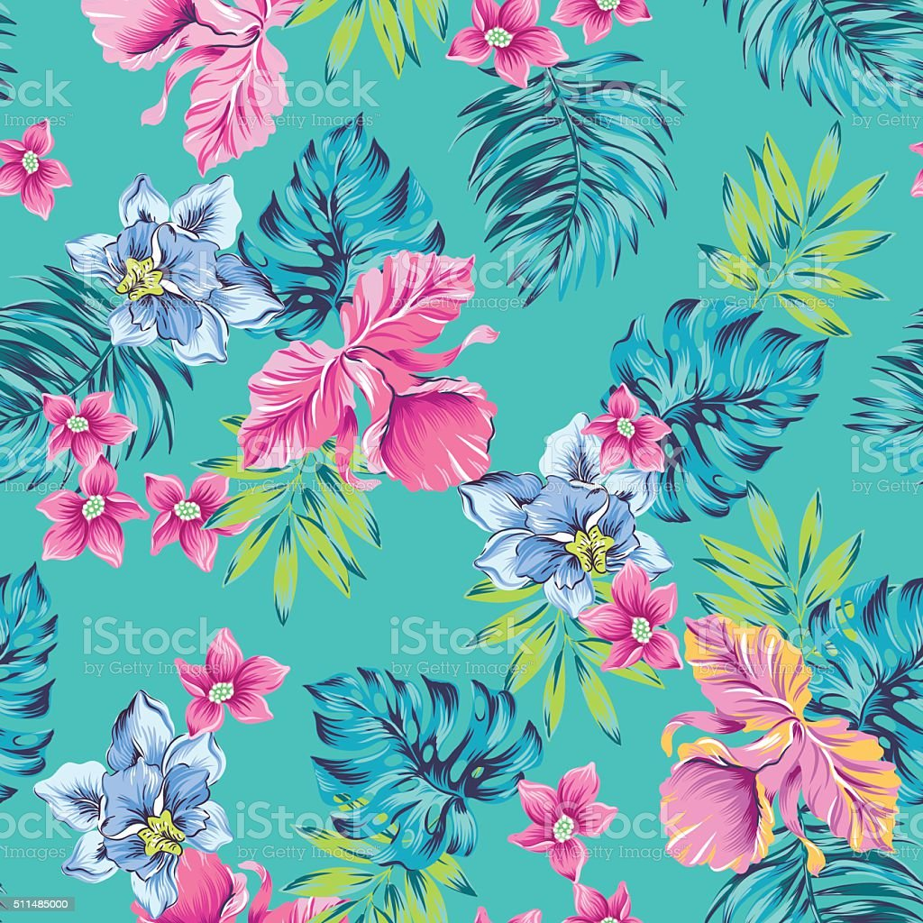 tropical flowers pattern vector art illustration