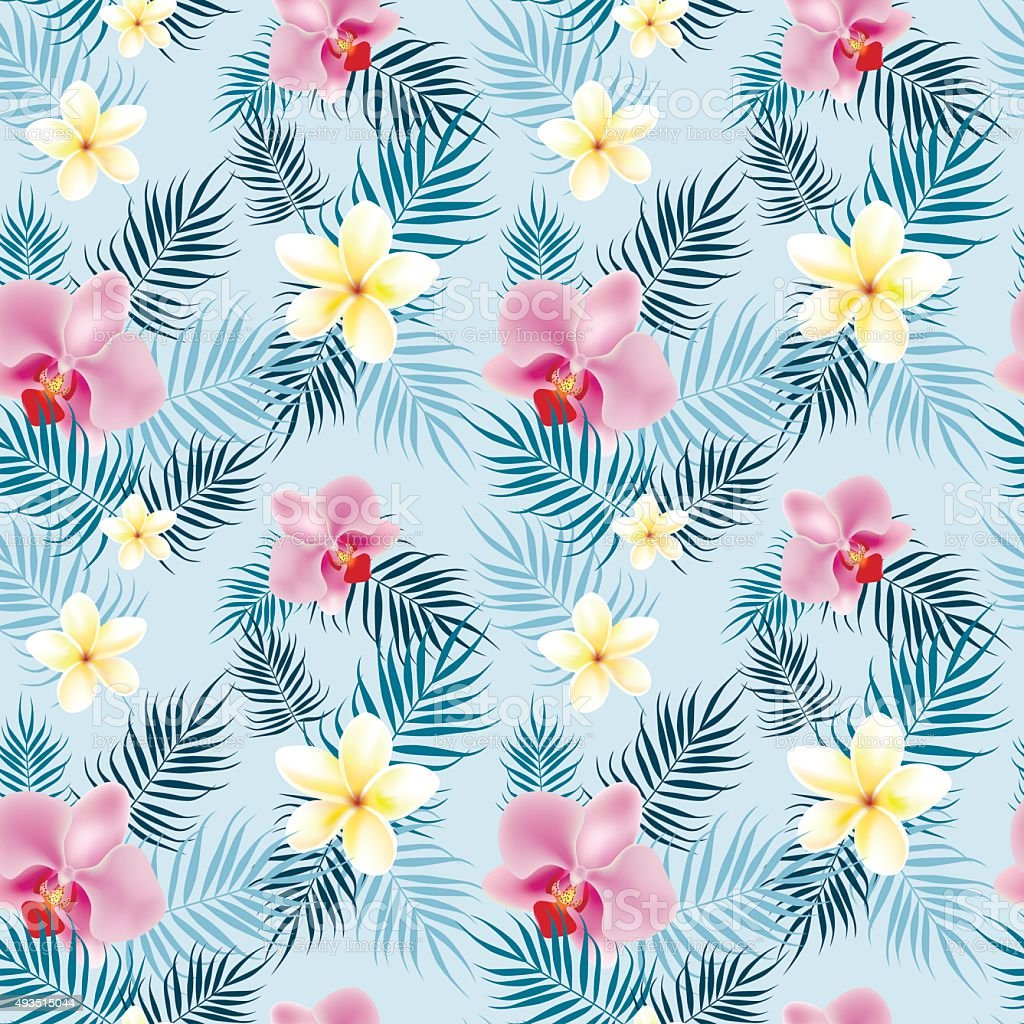 Tropical flowers pattern with palm leavs vector art illustration