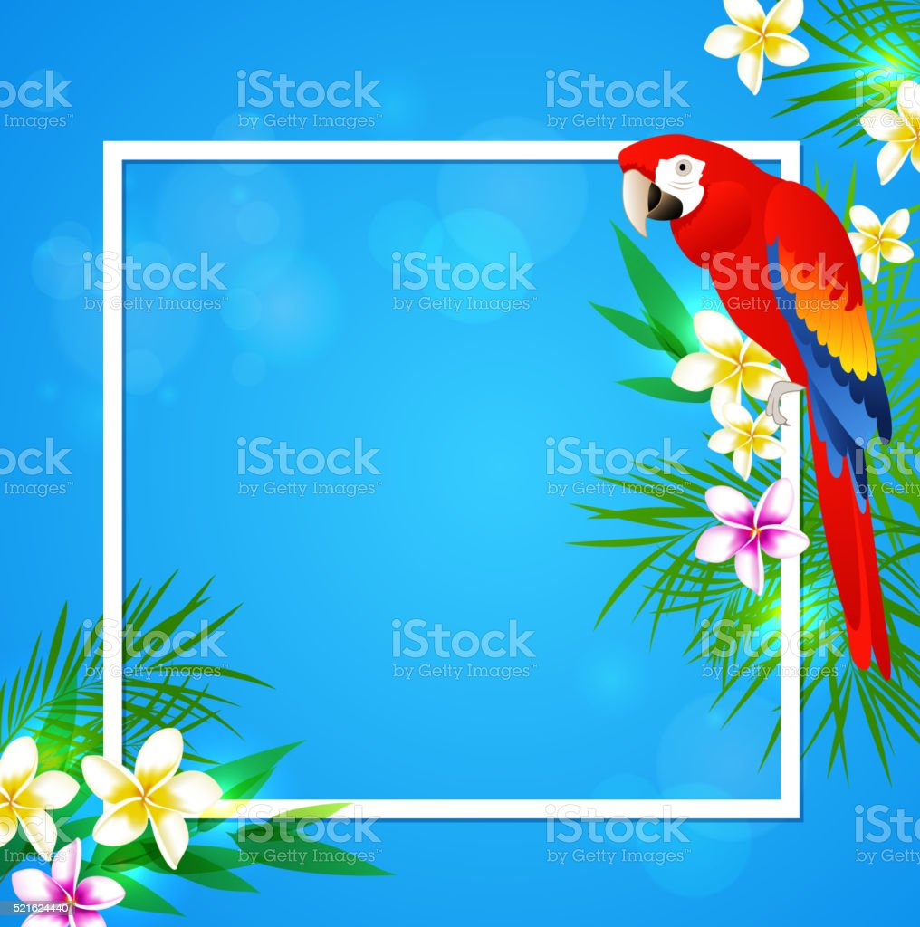 Summer vector background with tropical flowers and parrot. Tropical...