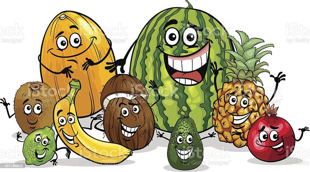 tropical fruits group cartoon illustration royalty-free stock vector art