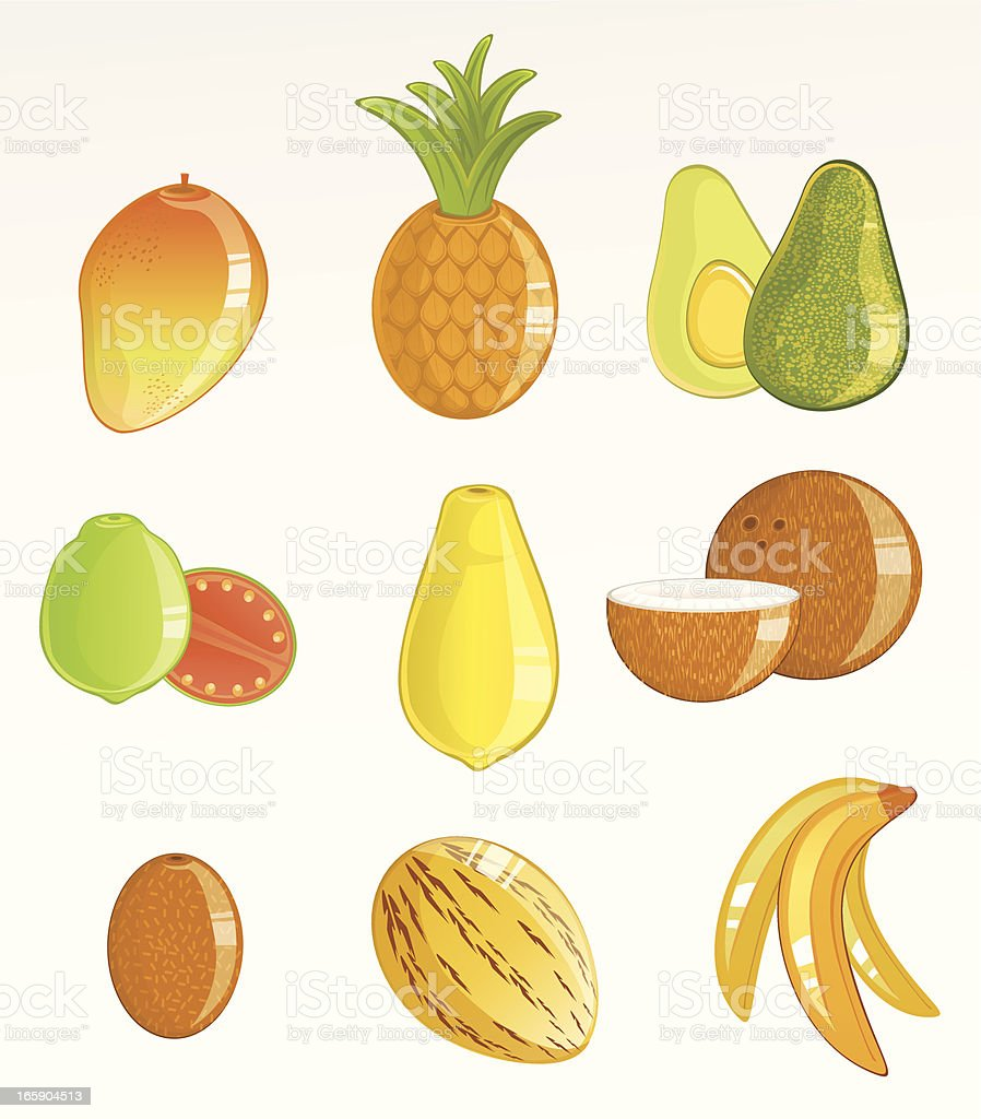Tropical Fruits Icon Set vector art illustration