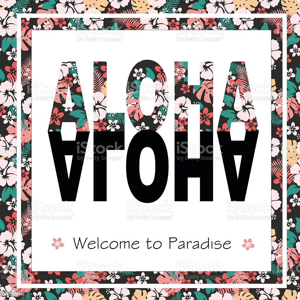Tropical Hawaii print for t-shirt with slogan. vector art illustration