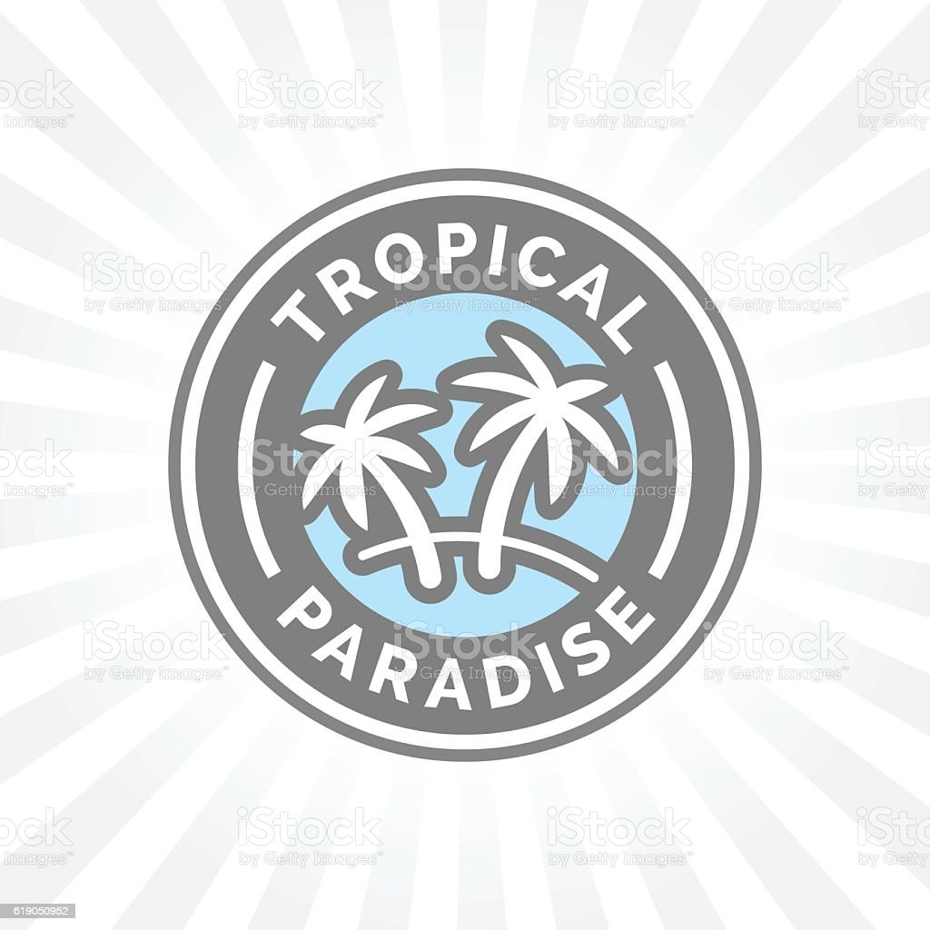 Tropical holiday paradise icon with palm trees symbol badge. vector art illustration