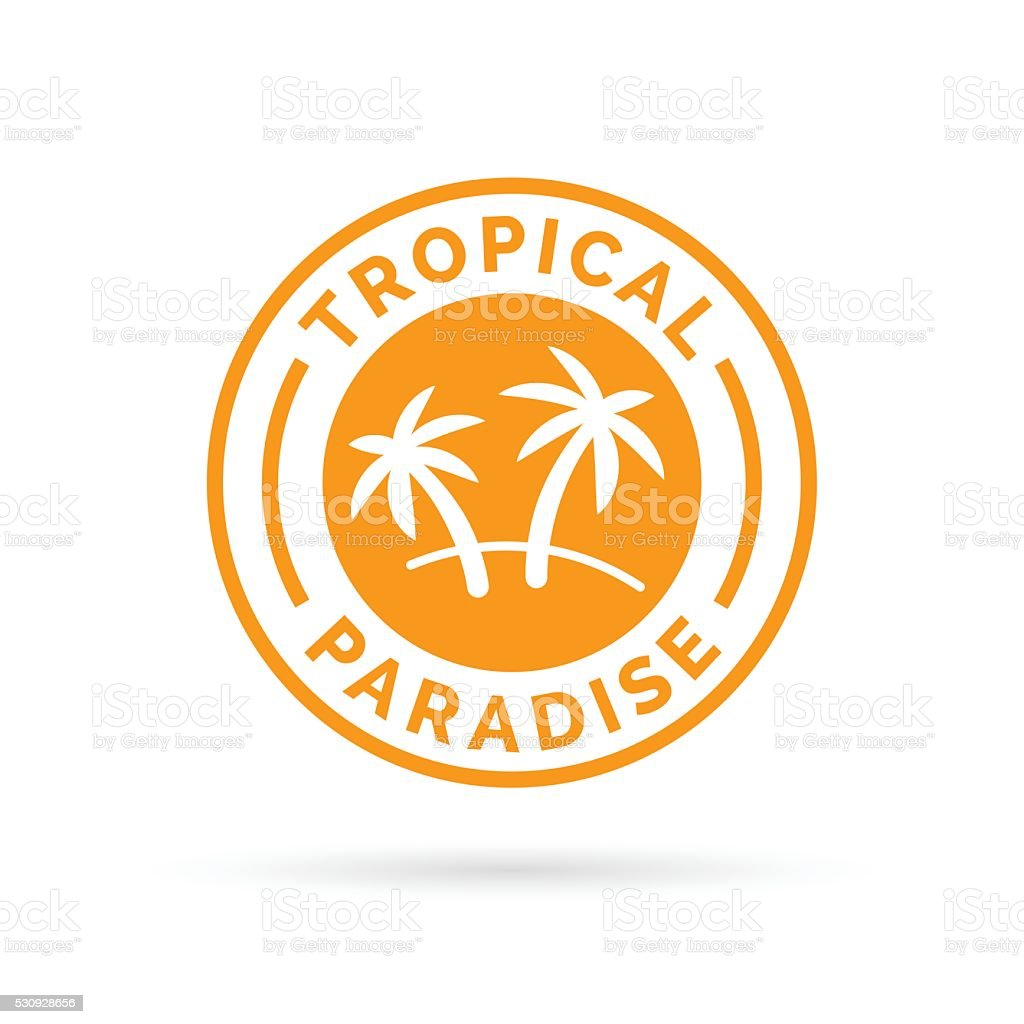 Tropical holiday paradise icon with palm trees symbol stamp. vector art illustration