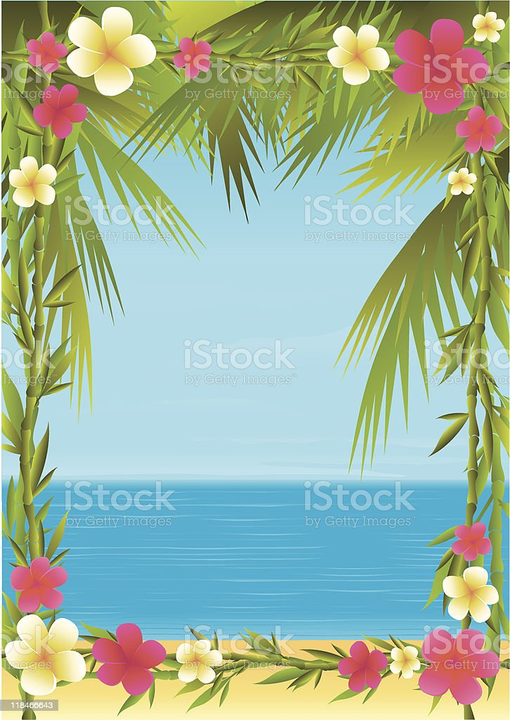 A tropical holiday template with flowers as a border vector art illustration