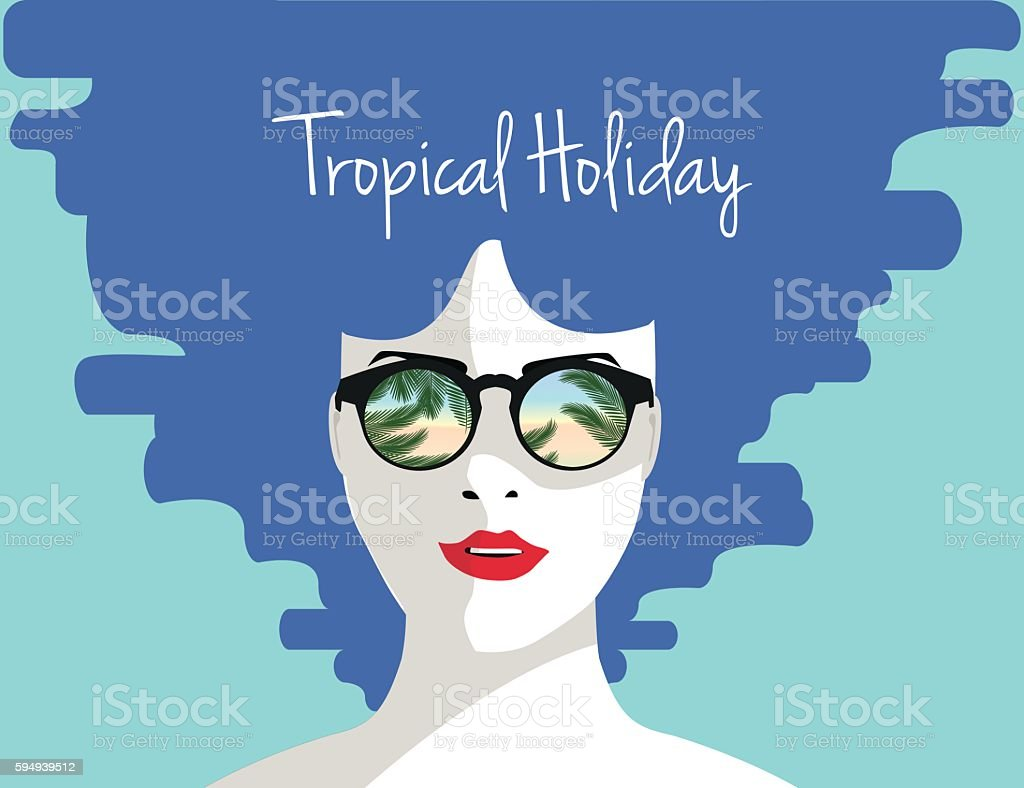 Tropical holiday vecttor illustration. Young woman with sunglasses. royalty-free 일러스트