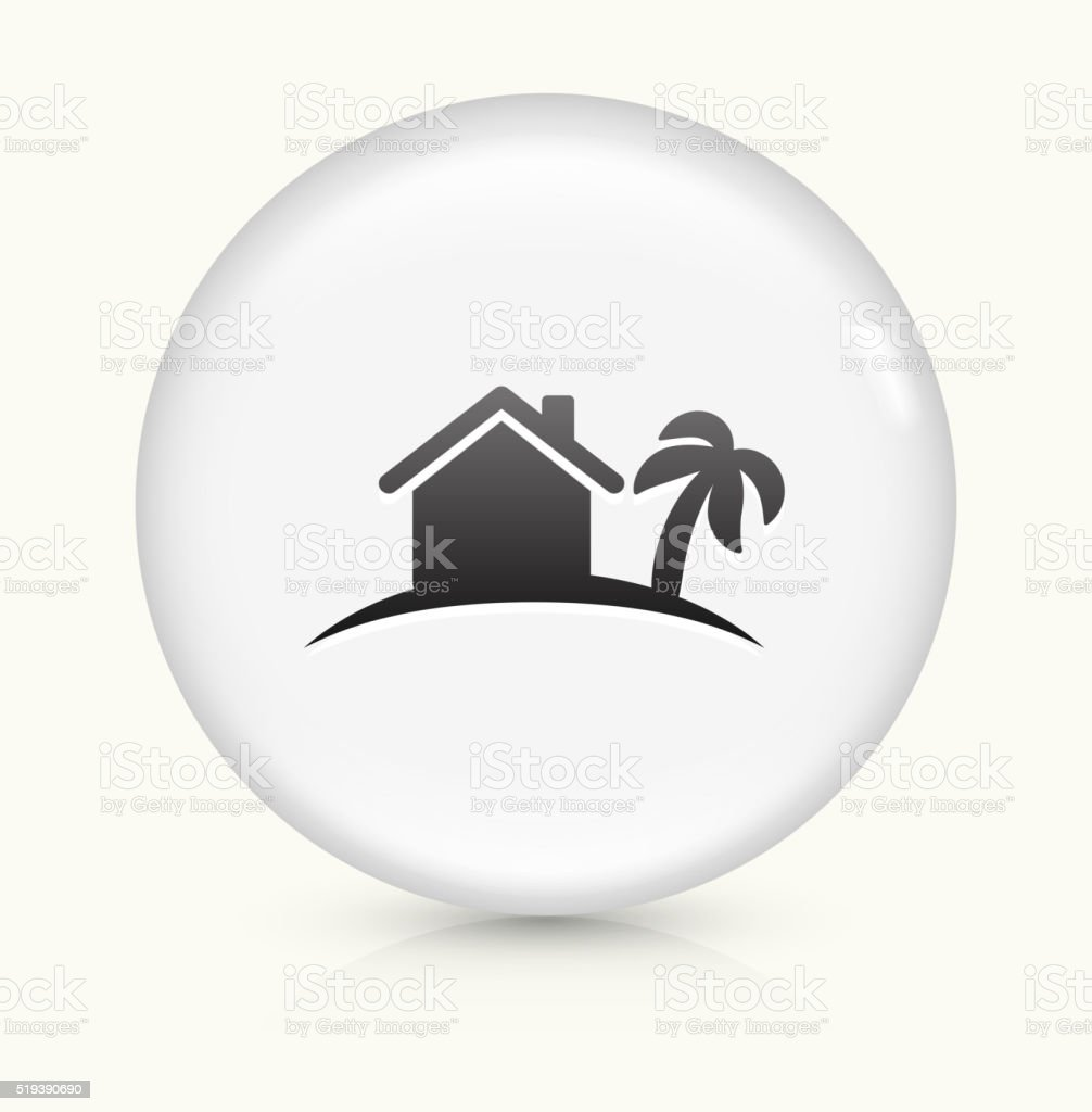 Tropical Home icon on white round vector button vector art illustration