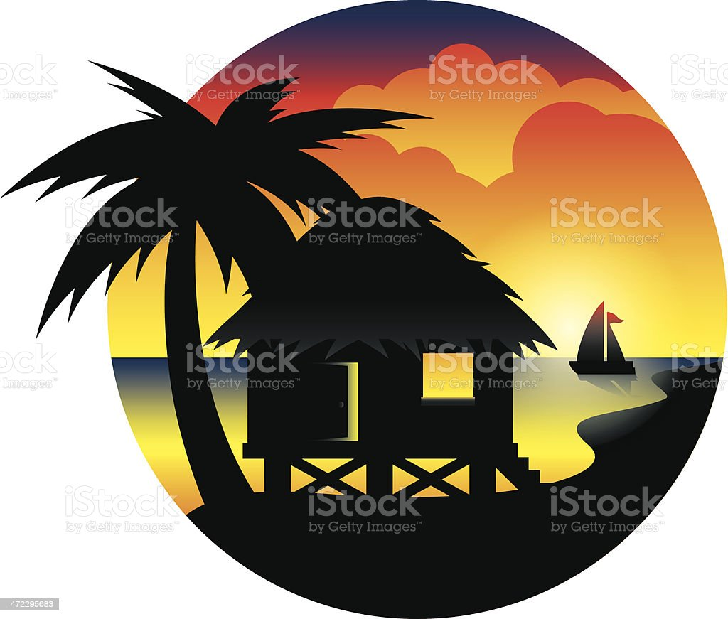 Tropical Hut on the Ocean vector art illustration