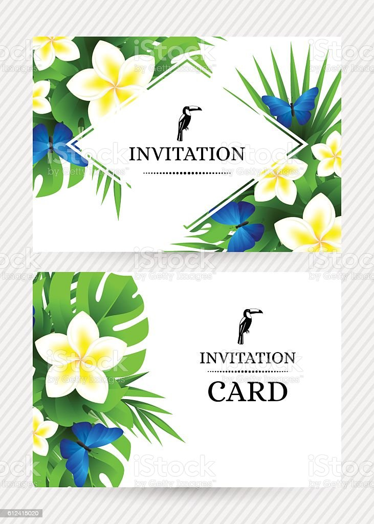 Tropical invitation background with exotic flower and blue butte vector art illustration