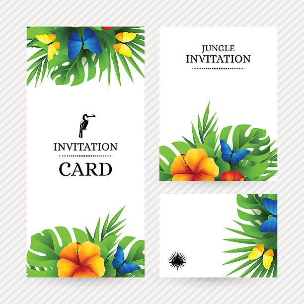 Jungle and wedding clip art vector images illustrations istock tropical invitation background with exotic flowers and butterfli vector art illustration stopboris Choice Image