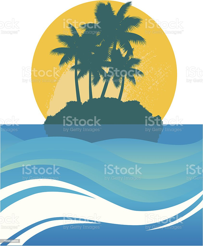 Tropical Island and Lagoon royalty-free stock vector art