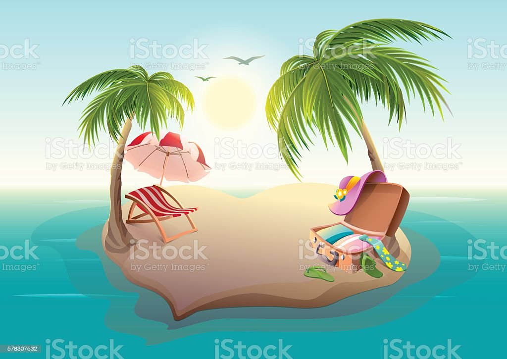 Tropical island and palm trees in blue sea vector art illustration