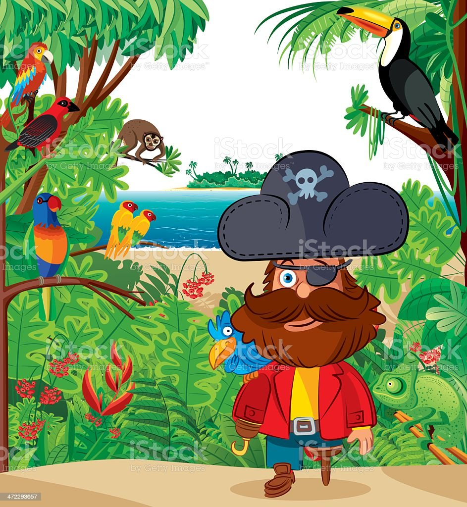 Tropical island and Pirate captain vector art illustration