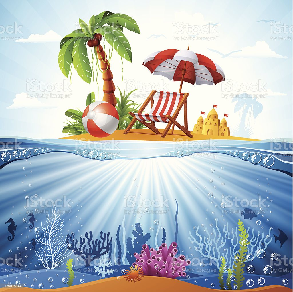 Tropical Island and Underwater Scene royalty-free stock vector art