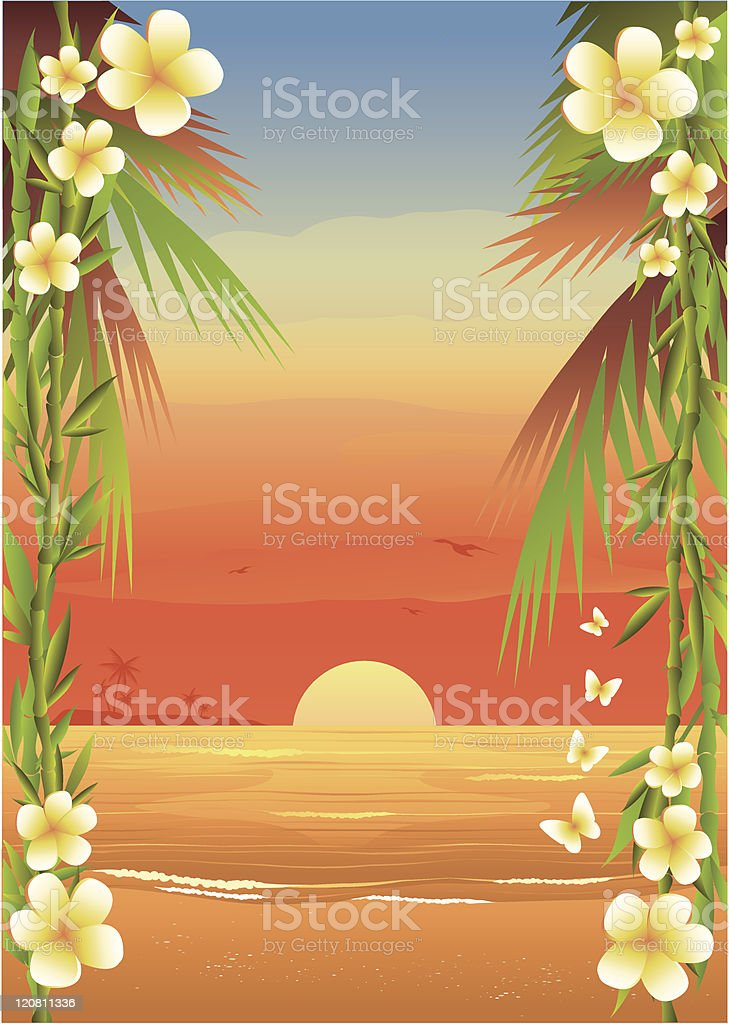 Tropical Island Beach royalty-free stock vector art