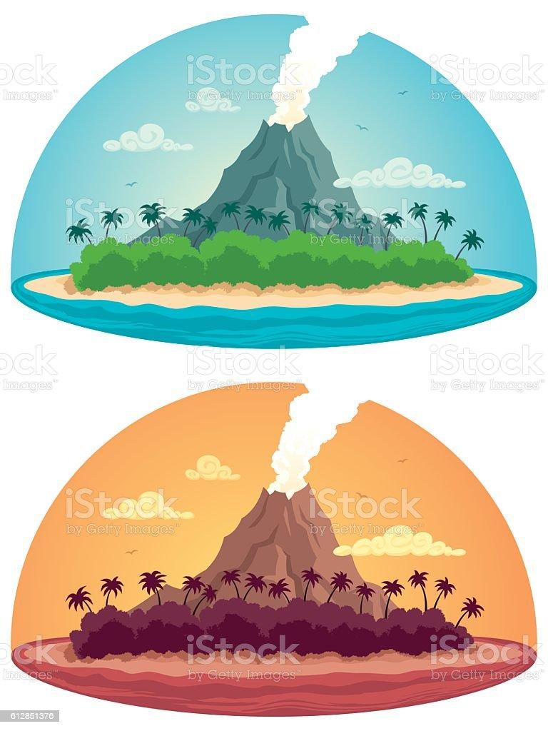 Tropical Island on White vector art illustration