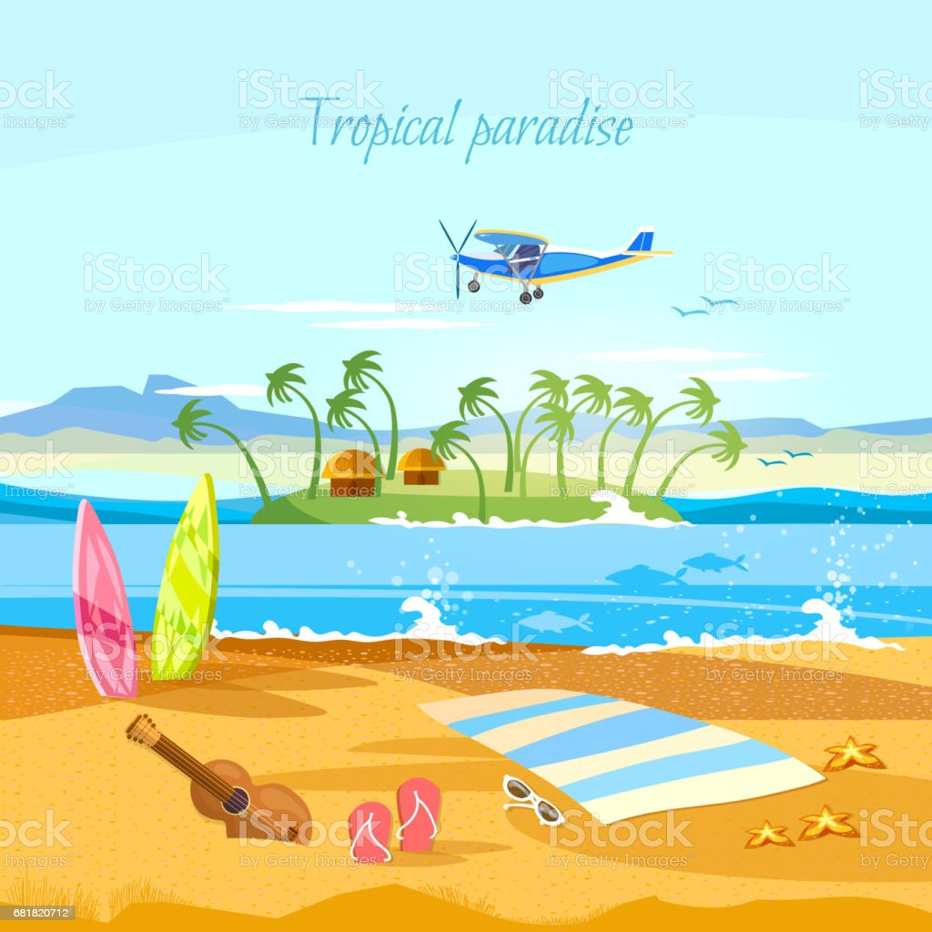 Tropical island, paradise rest. Travel to Hawaii, Tahitii. Beautiful nature landscape of tropical island. Travel in summer vector art illustration
