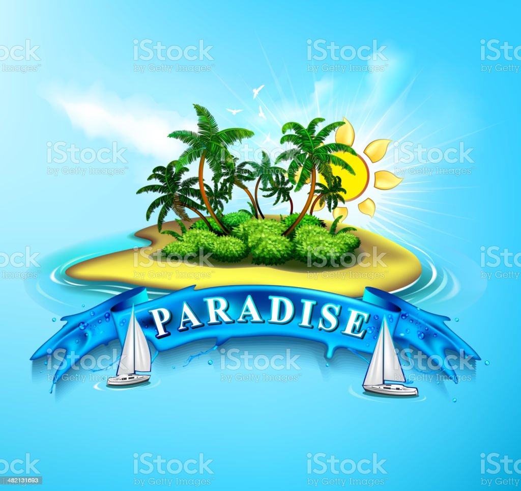 Tropical Island Paradise vector art illustration