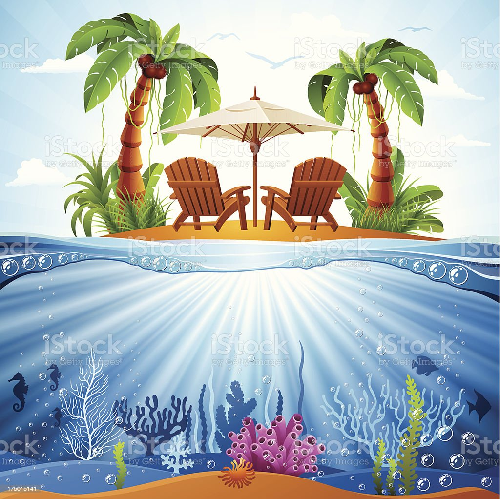 Tropical Island Scene royalty-free stock vector art