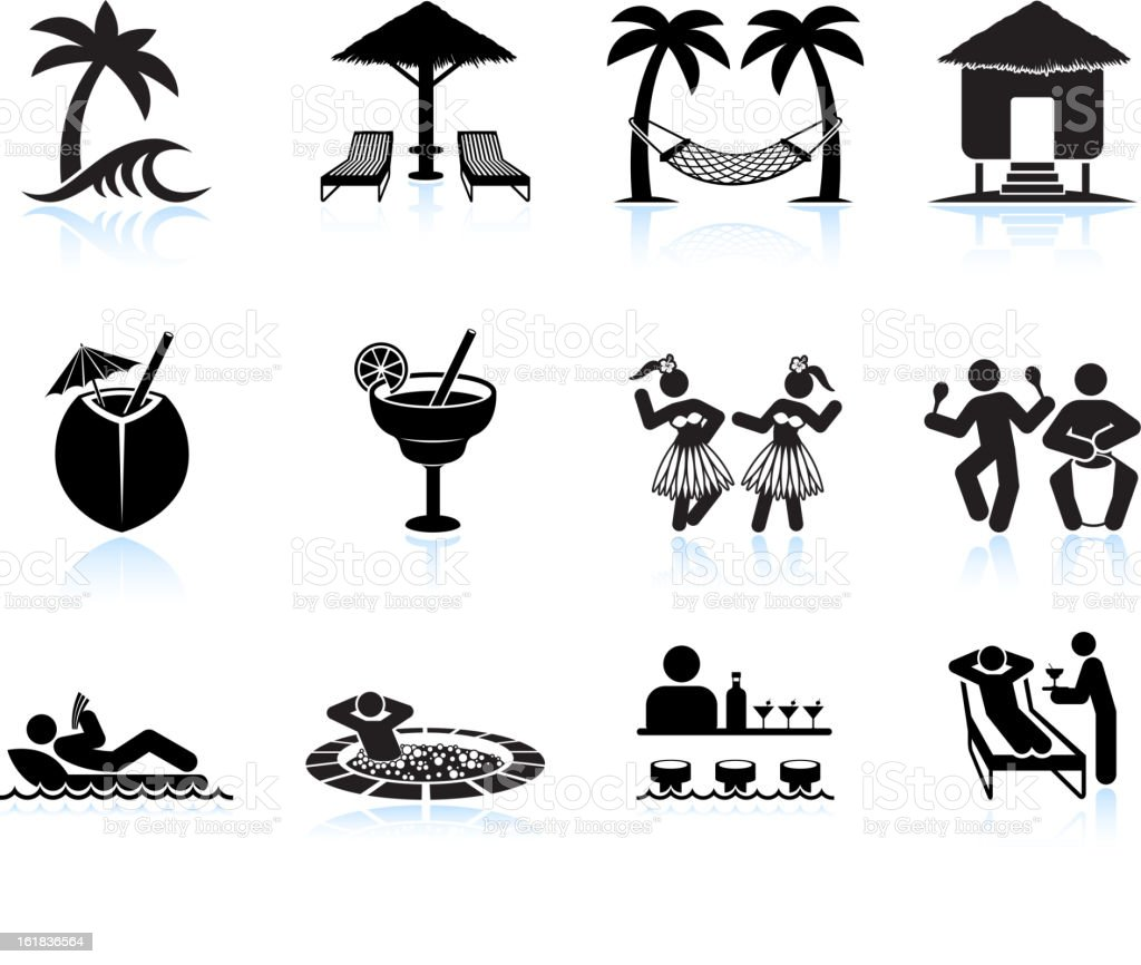 Tropical island vacation black and white icon set vector art illustration