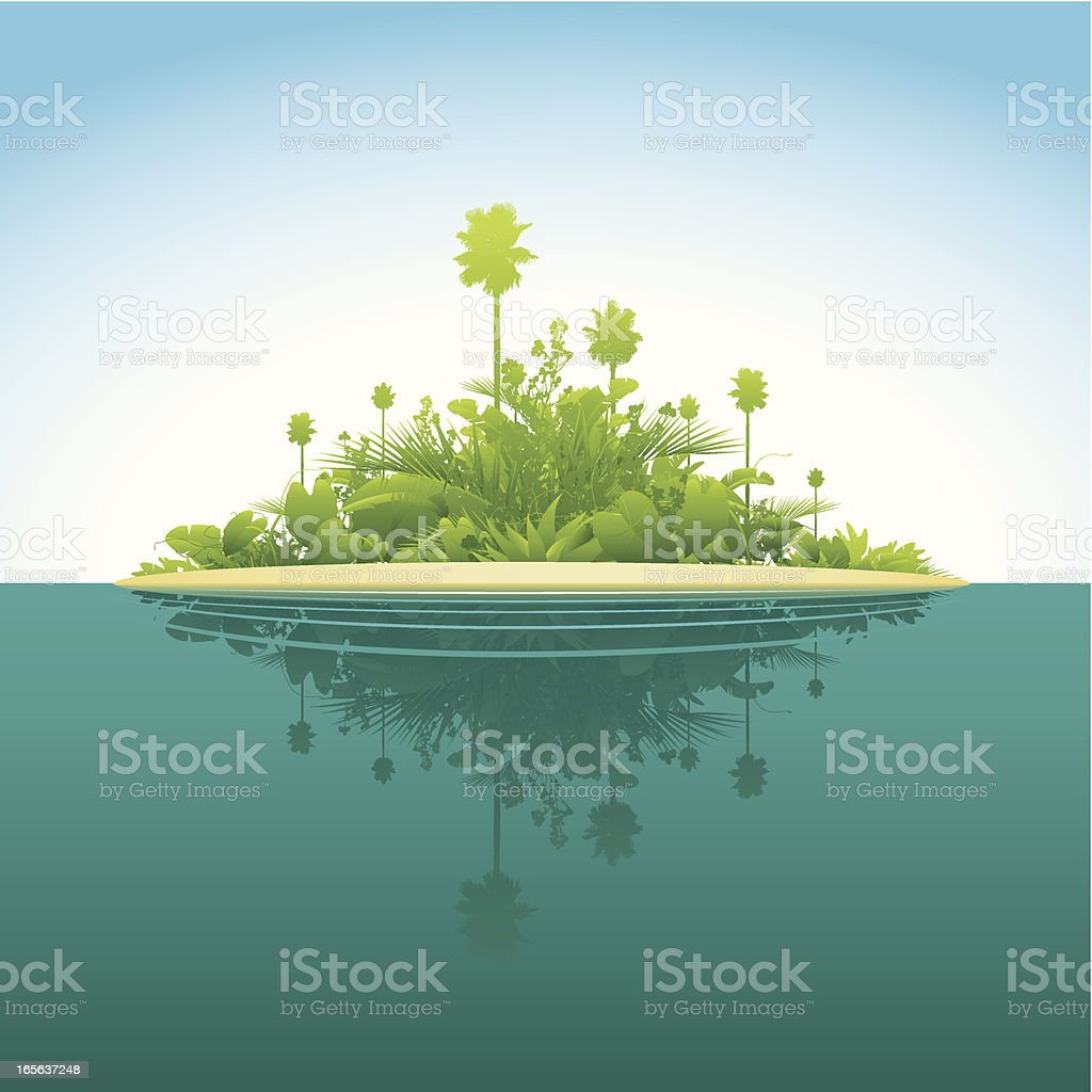Tropical island vector art illustration