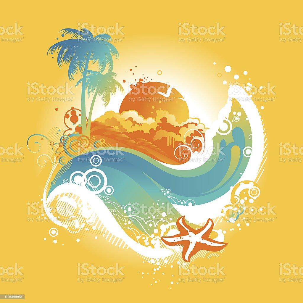 Tropical island vector illustration royalty-free stock vector art