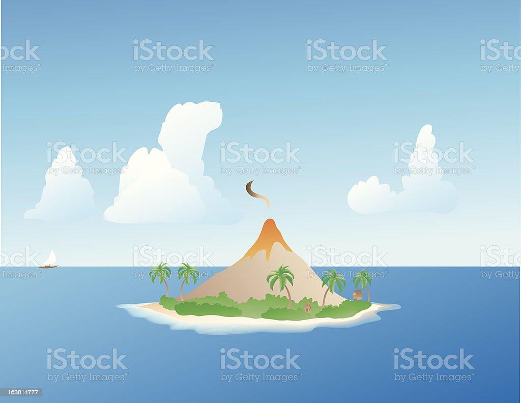Tropical Island Volcano royalty-free stock vector art