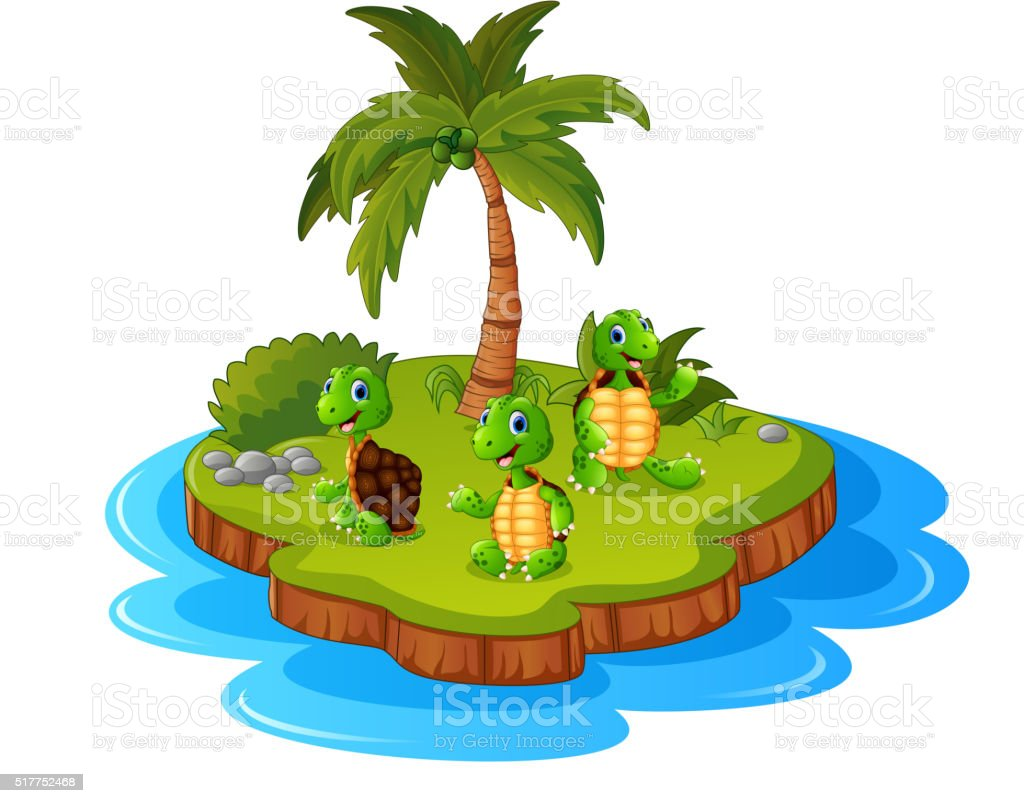 Tropical island with turtle vector art illustration