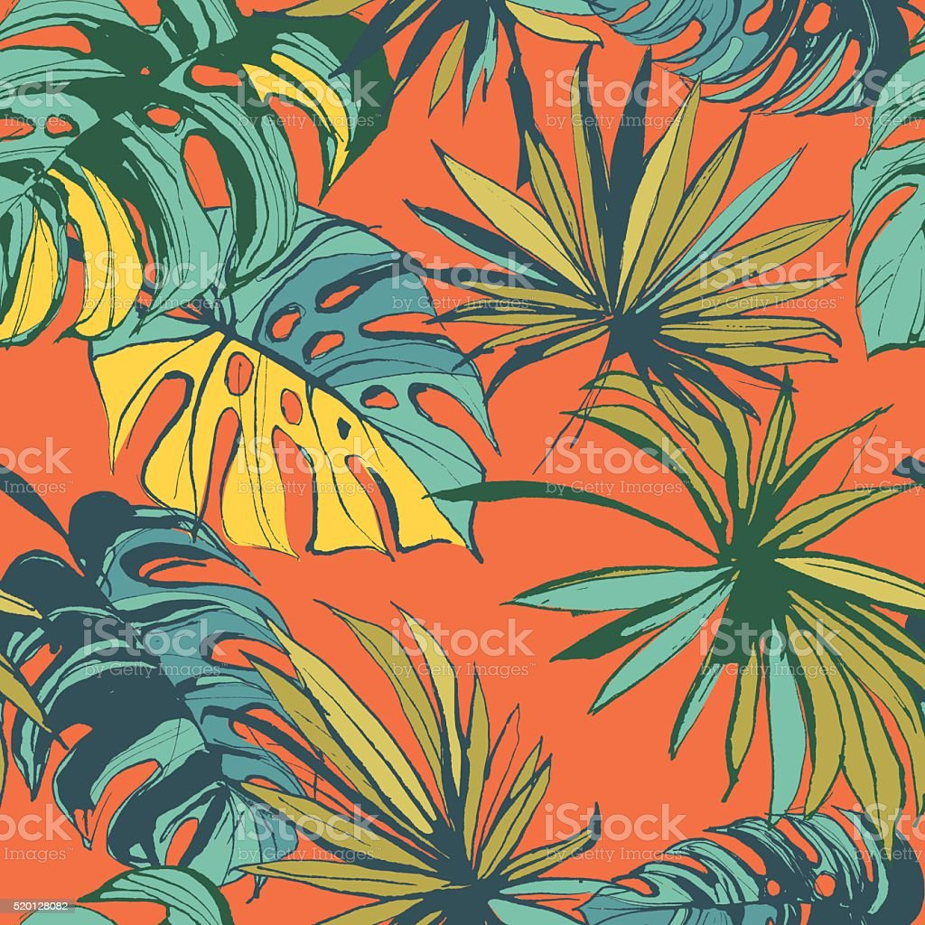 Tropical jungle floral seamless pattern background with palm vector art illustration
