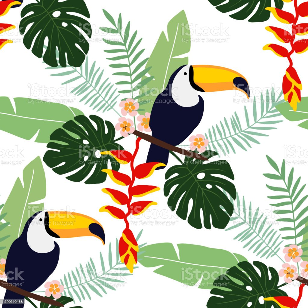 Tropical jungle seamless pattern with toucan, flowers, palm leaves,vector vector art illustration